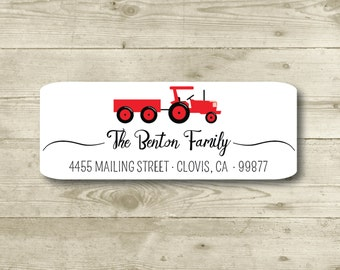 Red Tractor, Fair, Return Address Label, Personalized, MATTE, All Occasions, Birthday, Thank You