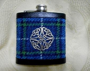 Harris Tweed hip flask blue green white mens gift Celtic knot christmas gift best man usher groomsman birthday 21st made in Scotland  UK