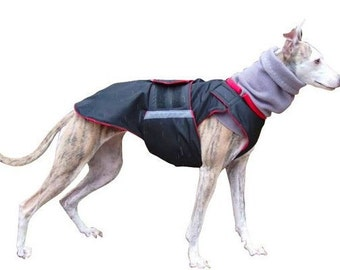 Extra Warm Winter Dog Coat - Dog Jacket with snood + underbelly protection - Black Dog Coat - Waterproof jacket - Custom made for your dog