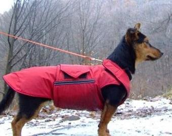 Dog Raincoat - Red Dog Rain Jacket - Custom Dog Coat with underbelly protection - Waterproof Dog Coat - Custom made for your dog