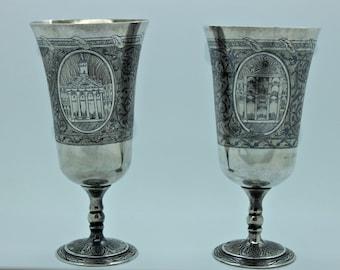 Antique original silver niello  van armenian ottoman double  cups