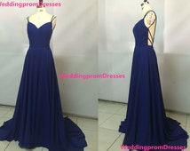 Pretty Royal Blue Long Backless Prom Gown 2016, Prom Dresses 2016, Royal Blue Evening Gowns