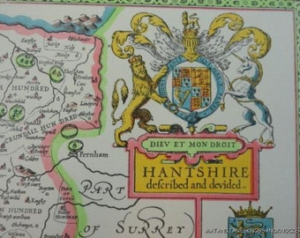Old copy of John Speed 1610 map of Hampshire, Winchester town plan, New Forest