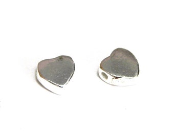 5x Sterling Silver Heart Beads 4 mm