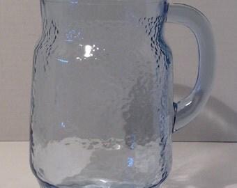 Vintage 1970's Glass Blue Lemonade Pouring Pitcher