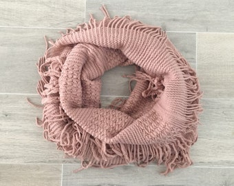 Dust Pink Knitted Fringe Infinity Scarf