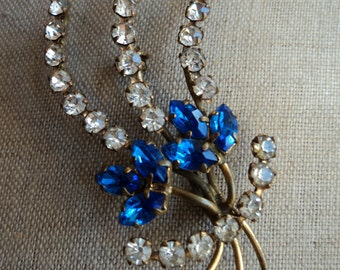 Vintage Diamante and Blue Glass Brooch