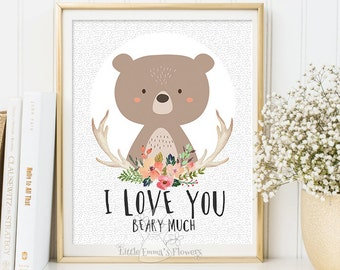 Valentines print I love you beary much Woodland Nursery wall art Printable bear Wall art Decor illustration decoration quotes  ID114-119