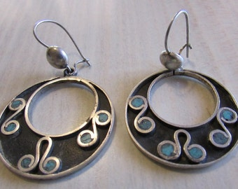 Sterling Silver and Turquoise Taxco Dangle Wire Earrings
