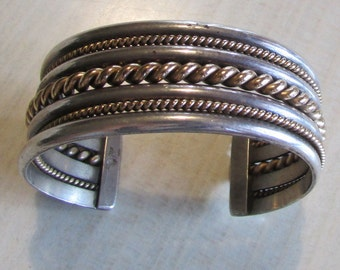 Sterling Silver and Gold Filled Tahe Navajo Cuff Bracelet