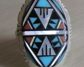 Sterling Silver Inlay Ring   Size 7 1/2   Zuni Style