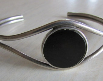 Sterling Silver and Black Onyx Cuff Bracelet