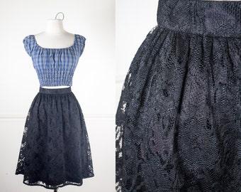50s Style Skirt, 80s does 50s Skirt, 80s Skirt, Black Lace Skirt, High Waist Skirt, Midi Skirt, Black Skirt, Retro Skirt, Knee Length Skirt