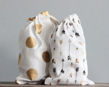 Pouches Arrows Or Gold Spots Set of 5 Gift Bags Packaging