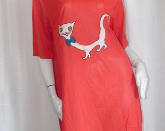 Vintage 1960s Red Nylon Satin Gown Lingerie Funky Kitty Cat