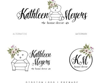 Floral logo premade logo package watermark branding package photography logo marketing package