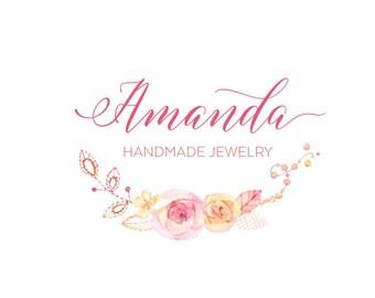 Premade logo  Calligraphy Logo  Modern Logo  Chic Logo  Watermark Jewellery Logo  Floral Logo
