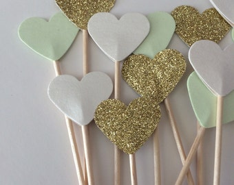 Heart Cupcake Toppers, Flags, canapés Picks. Ideal for weddings, baby showers, birthday parties. In mint, ivory, and gold glitter.