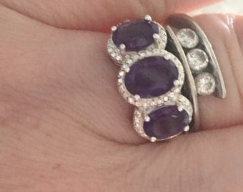 Silver and Amythyst three stone ring
