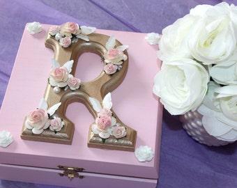 Personalised Baby wooden box - Wooden Wedding box - Personalised box - baby box -Anniversary box - Keepsake box - Wedding Gift - Grey box