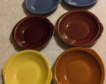 Vintage 1937 Edwin M Knowles Yorktown Shape Fruit, Dessert, Sauce Bowls. Yellow, Blue, Mauve, Brunt Orange, Fiesta Colors, Vintage China
