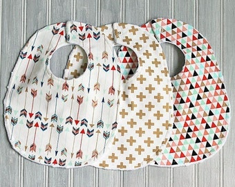 Gold, Mint, Coral and White Gender Neutral Baby Bib Set - Set of 3 Minky Bibs - Boy or Girl Gold Arrows, Crosses and Triangles Bibs