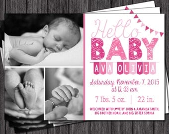 Baby Girl Birth Announcement - Printable Girl Birth Announcements