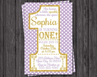 First Birthday Invitation - Lavender and Gold 1st Birthday Invitations