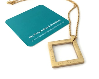 she believed she could so she did square pendant gold jewellery personalised handstamped graduation inspirational necklace