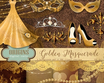 Gold Masquerade clipart, Carnival masks, Carnivale clip art, fairy lights lace digital scrapbooking kit, string lights, pearls and lace
