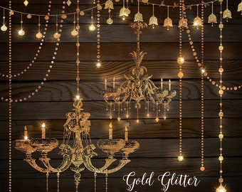 Gold Glitter Chandeliers Clipart - Chandelier Clip Art, String Lights, Party Lights, Fairy Lights, PNG Instant Download Commercial Use