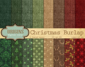 Christmas Burlap Digital Paper - Linen Natural Backgrounds, Patterns, Textures, Holiday Digital Scrapbook Paper Pack Instant download