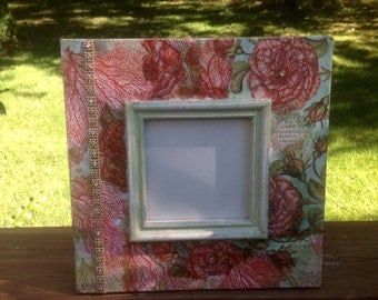 Handpainted and embellished picture frame, mirror frame, photo frame