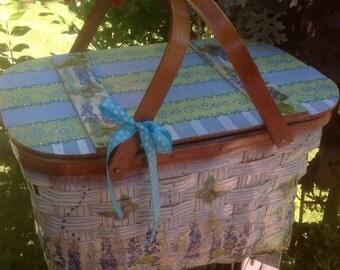 Handpainted and embellished picnic basket