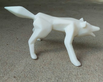 Geometric cast wolf figurine