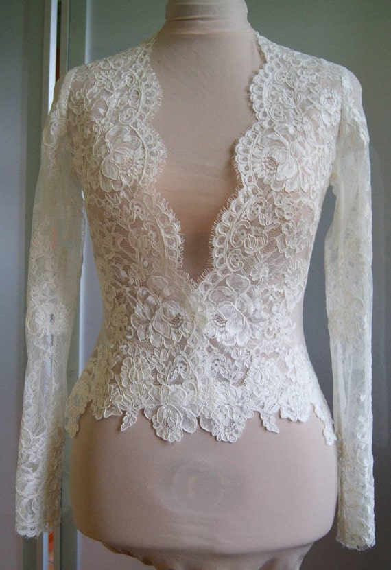 Wedding bolero jacket of lace long sleeveshort sleeve by for Wedding dress long sleeve lace jacket