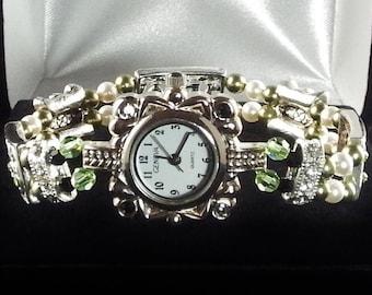 Green Peridot Paisleys Crystal Stretch Watch with Swarovski Crystals