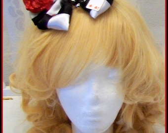 Sweet Alice in Wonderland Lolita headbow, with rabbit ears, playing cards and pearls chain