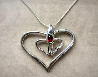 Silver Heart with Garnet