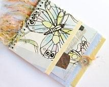 Butterfly Notebook, Scrap Paper Collage book, Spiral Bound Journal, Pastel Blue Purple, Pocket Smash Book, Unique Recycled Paper Ephemera