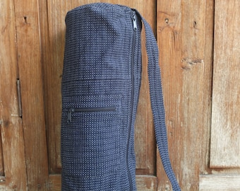 Yoga mat bag, zipper, zip, pocket (navy blue, white dots)