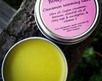 Organic Cinnamon Warming Salve, Winter Salve, Chest Salve, Cinnamon Chest Rub, PMS Salve, Organic Antiseptic Salve