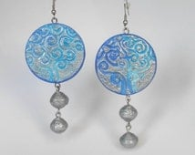 Tree of life earrings, blu and silver Earrings, celtic tree of life jewelry , paper earrings, quilling beadS,embossed jewelry, paper jewelry