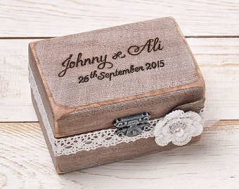 Ring Bearer Box Wedding Ring Box Personalized Ring Box Rustic Vintage Wedding Ring Holder Pillow Ring Bearer Box Custom Wood Wooden Box
