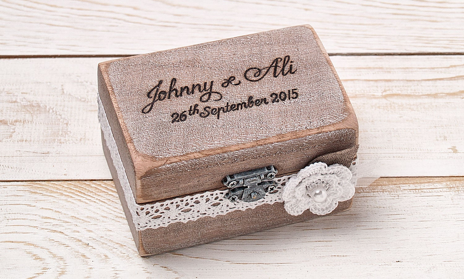 Ring bearer box wedding ring box personalized ring box rustic for Cute engagement ring boxes