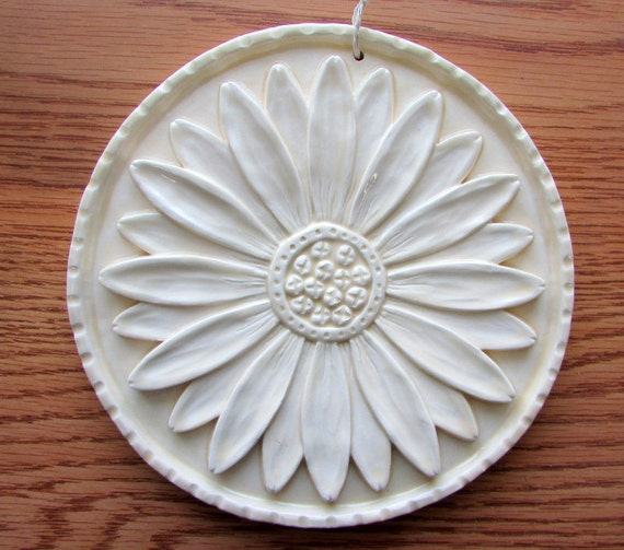 Ceramic Daisy Art Tile -- Daisy Medallion in Champagne Glaze, Floral Decorative Tile
