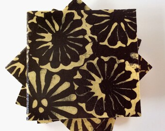 Black and Beige Fabric Paper Coasters