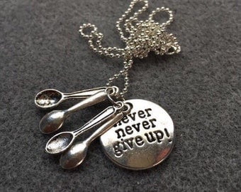 Silver Never Give Up Spoonie Necklace- Chronic Illness