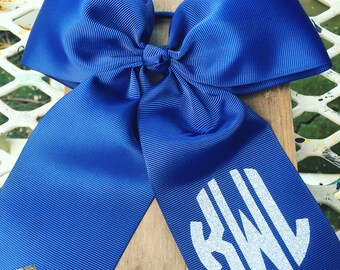 Large cheer bow with monogram/girl hair bow/ cheerleader hair bow/dance hair bow/hair bow with large monogram