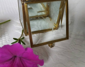 Vintage glass and brass JEWELRY BOX with mirrored inside bottom